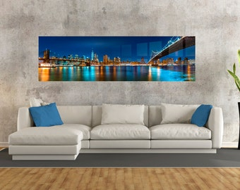 Stunning HD Metal Print of New York Night Skyline. Perfect for Livingrooms or your Office! Ready to Hang.