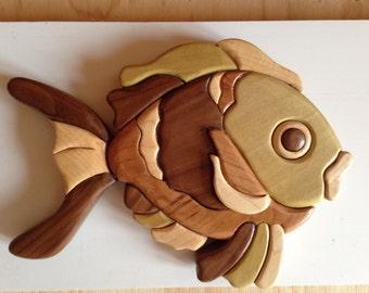 Wooden Intarsia Tropical Fish