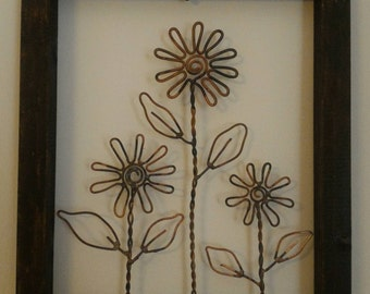 Picture of flowers in copper