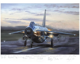 Aviation art print. English Electric Lightning. Limited edition signed by artist and Lightning pilots. Airplane art. Present for him.