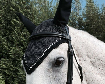 Handmade Black and Grey Horse Bonnet