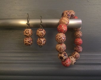 Exotic Brown Earring and Bracelet Set