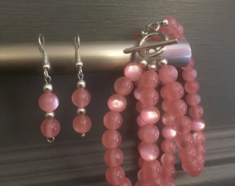 Pink Beaded Earring and Bracelet Set
