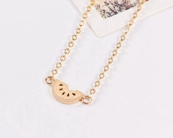Lou gold plated 18K watermelon fruit was minimalist trendy jewelry necklace