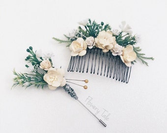 Cream Floral hair comb with boutonniere, flower comb, Bridal comb,  bridal headpiece, bridesmaids comb, Bridal hair flower, Hair Accessories
