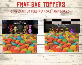FNAF bag toppers, Five Nights at Freddy's bag toppers, FNAF party favor, Five Nights at Freddy's treat bag toppers! 2 designs and 2 sizes!