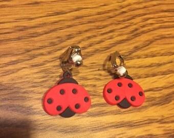 Ladybug clip on earrings