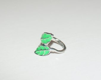 Silver plated Stacking green leaf ring, Fast shipping, for her