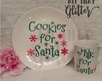 Santa's Cookies Plate// Milk Mug// Christmas Cookie// Christmas Plate// Personalized Plate// Santa's Milk Mug