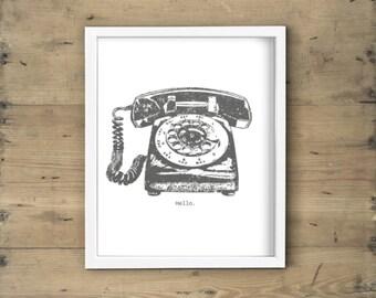 Charcoal gray and white rotary phone print - Retro vintage telephone printable art, poster, wall decor, illustration - 8x10 DIY framed art