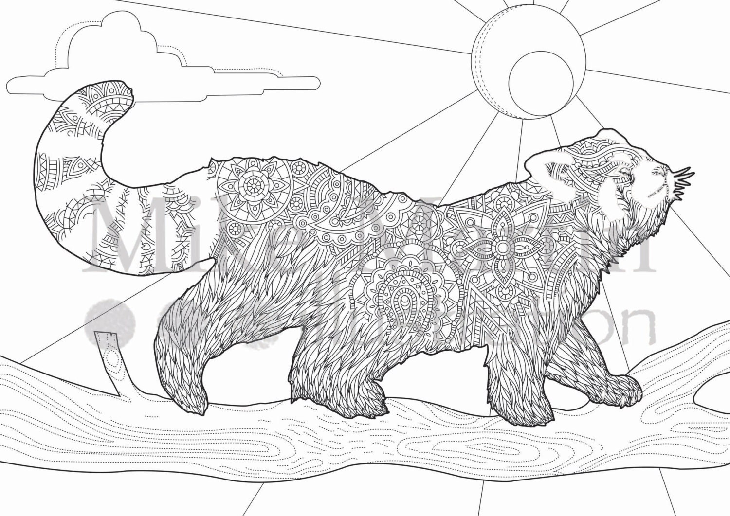 Printable red panda coloring page instant download adult for Coloring pages panda