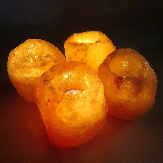 4x Himalayan Pink Rock Crystal Salt Candle Tea Light Holders - Introductory Limited Time Offer