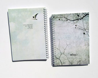 "Spiral Notebook ""Sanpu"" / Journal / Sketchbook - blank or lined - vintage japanese haiku inspired bird & tree illustration design, 3 sizes"