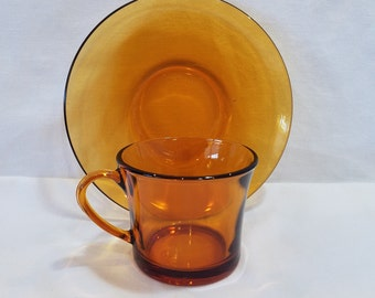 Vintage Duralex Amber Glass Cup and Saucer,