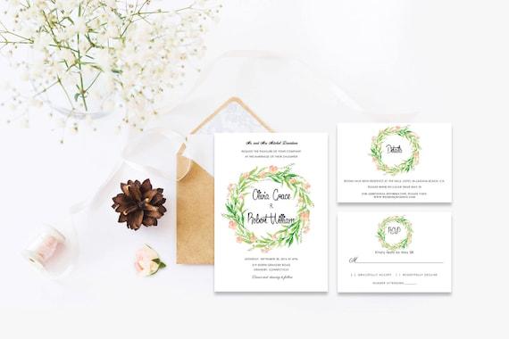 Floral wedding invite word_70,INSTANT DOWNLOAD, Editable Wedding template invitation. Microsoft Word template.Wedding Printable