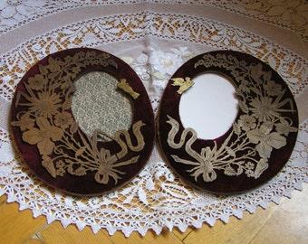 A pair of Antique wooden velvet photo frames with wooden appliqué