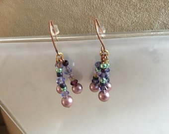 Pink Pearl Copper Earrings