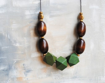 Chunky Geometric Necklace, Boho necklace, Statement Necklace, Bohemian Jewelry, Handmade necklace, Wooden necklace  Brown green