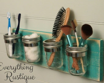 mason jar organizer mason jar decor shabby chic mason jar bathroom bathroom - Bathroom Jar