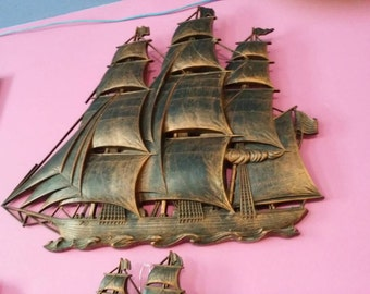 Vintage Syroco Copper Tone Sail Boat