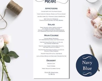 Printable Wedding Menu Card - Modern calligraphy wedding menu - Wedding dinner menus - Wedding Party Menu Cards - Wedding Menus #WDH0062