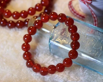 Natural Red Agate Gemstone Round Beads Stretch Bracelet -8mm/紅瑪瑙手鏈