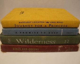 Vintage Home Decor Vintage Books Yellow, Blue, Green, Brown 4 Piece Lot