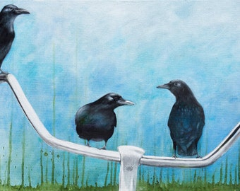 CROWBAR - Print From Original Oil Painting - Canvas Wall Art - Fine Art Ready To Hang -  Crow Handle Bar Bicycle Blue Green Black