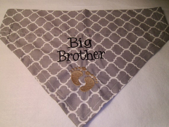 Big Brother, Feet, Personalized, Big Brother, Dog Bandana,  Over the Collar, Baby Announcement, Scarf