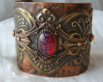 Neo Victorian Cuff Bracelet Repurposed Reconstructed Mixed Metal Gypsy Style Copper and Brass Dragons Breath Cab
