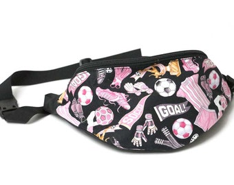 Girls Soccer fabric - Cute Fanny Pack - Hip Waist Bag for travel, sport, and hiking 2-zippers