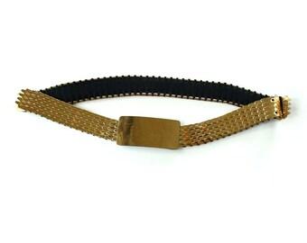 shiny gold tone fish scale belt . fishscale belt . elastic stretch belt . vintage gold belt . cinch belt