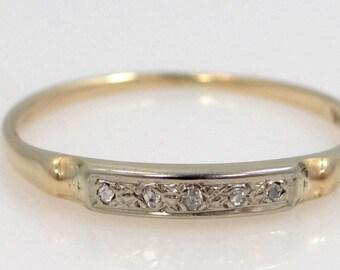 14k Yellow and White Gold 5 Diamond Stacking Ring Wedding Band