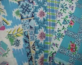 "BEST 20 Vintage ALL AQUA Feedsack Fabric Quilt  5 x 8"" Flour Sack Charm Pieces"