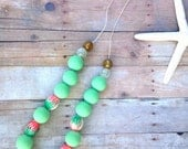 Green beads, polymer pink and green beaded necklace