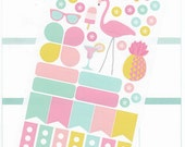 42 summer theme planner stickers, flamingo, garden, backyard, barbecue, hand drawn, decorating kit, diary, scrapbook, to do, tasks, FMG1