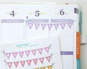 10, weekend planner stickers, bunting, flags, banner, pastel, hand drawn, doodle, erin condren, eclp, filfofax, happy planner