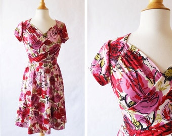 Size XSmall Womens Red Floral Print Dress, Sweetheart Crossover Dress Short Sleeve Dress Fuchsia pink dress Ponte Roma - Ready to Ship