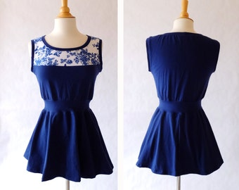 Peplum tank top Navy Floral cotton tank Womens blue and white toile Flower print shirt sleeveless blouse stretch Cotton knit - Made to Order