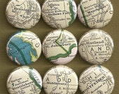 One Inch Magnet Set - Vintage Vermont Map - One of a kind set