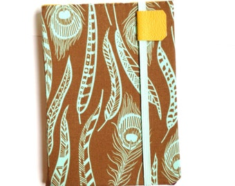 Kindle Paperwhite cover - Simple Feathers - Kindle Touch,  Basic - hardcover eReader - brown and aqua feather print