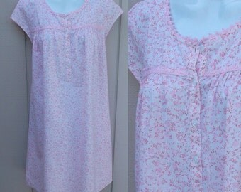 80s Pink Floral Cotton Nightgown by Adonna / Vintage Oversized Long Babydoll Ruffle Nightie / sz Med