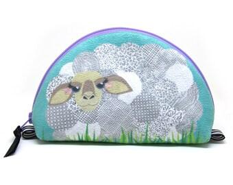 Notions Bag, Sheep Zipper Pouch, Aqua Blue