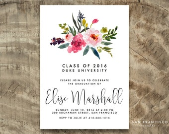 Floral Graduation Invitation |  Pink, Gold, Black, Calligraphy | Digital PDF Invite | ELISE Collection | Printable