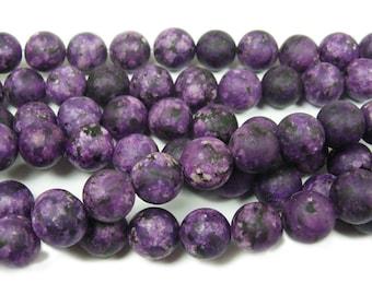 Purple Kiwi Jade Matte Gemstone Beads