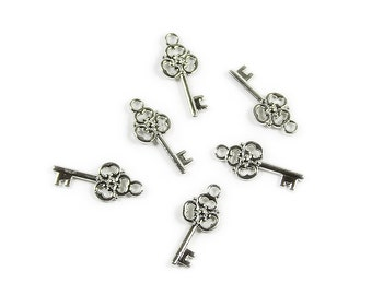 Bali Style Pewter Key Charms Beads