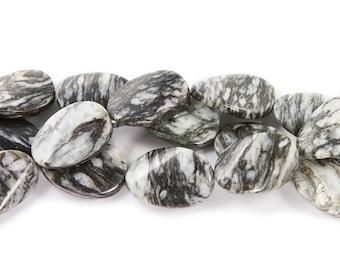 Black Web Jasper Twist Oval Gemstone Beads