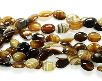 Brown Striped Puffed Oval Agate Gemstone Beads