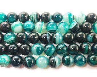 Dark Sea Green Striped Agate Round Gemstone Beads