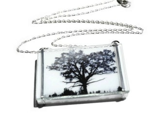 Friendship Road, Glass Necklace, Tree Necklace, Photo Necklace, Photo Jewelry